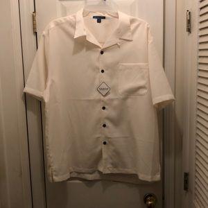 Port Authority buttondown cream short sleeve shirt